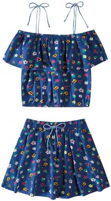 Conjunto Infantil Feminino Verão Marinho Aloha Malwee