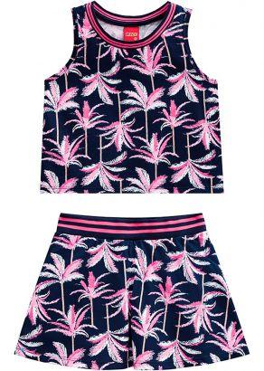 Conjunto Infantil Feminino Verão Marinho Tropical Kyly