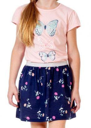Conjunto Infantil Feminino Verão Rosa Borboletas Kids Club
