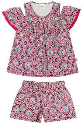 Conjunto Infantil Feminino Verão Rosa Étnico Elian