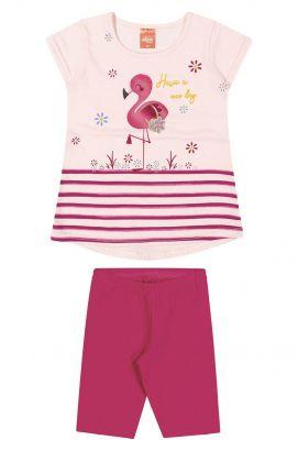 Conjunto Infantil Feminino Verão Rosa Flamingo Elian