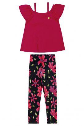 Conjunto Infantil Feminino Verão Rosa Floral Elian