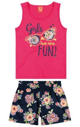 Conjunto Infantil Feminino Verão Rosa Girls Elian