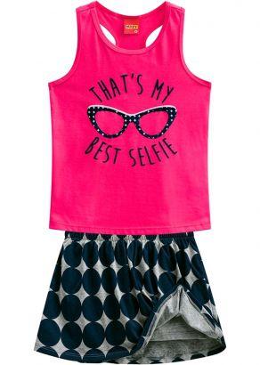 Conjunto Infantil Feminino Verão Rosa Glasses Kyly
