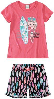 Conjunto Infantil Feminino Verão Rosa Summer Malwee