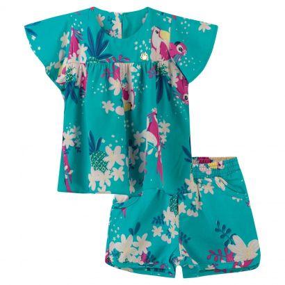 Conjunto Infantil Feminino Verão Verde Tropical Colorittá