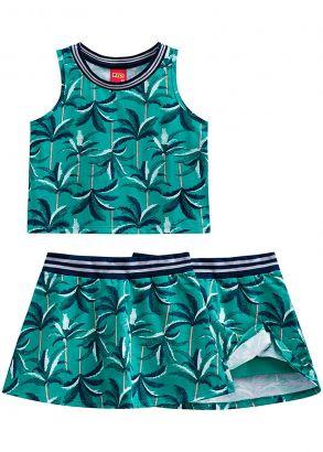 Conjunto Infantil Feminino Verão Verde Tropical Kyly