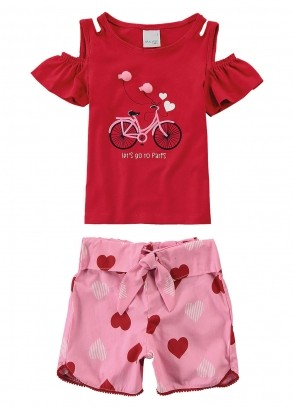 Conjunto Infantil Feminino Verão Vermelho Bike Malwee