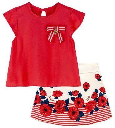 Conjunto Infantil Feminino Verão Vermelho Flores Colorittá