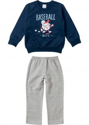Conjunto Infantil Masculino Inverno Azul Baseball Malwee