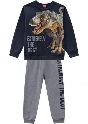 Conjunto Infantil Masculino Azul Inverno Dino Best Kyly