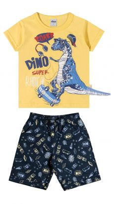 Conjunto Infantil Masculino Amarelo Dino Elian