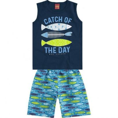 Conjunto Infantil Masculino Azul Marinho Peixes Kyly