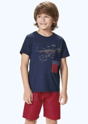 Conjunto Infantil Masculino Verão Azul Dino Malwee