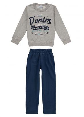 Conjunto Infantil Masculino Inverno Cinza Denim Malwee