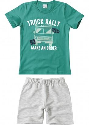 Conjunto Infantil Masculino Verão Verde Truck Malwee
