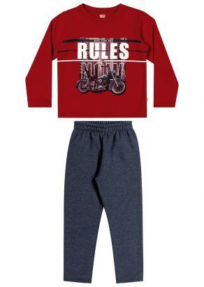 Conjunto Infantil Masculino Inverno Vermelho Rules Elian