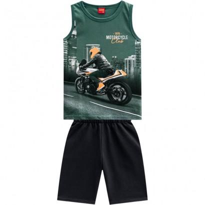 Conjunto Infantil Masculino Verão Verde Motoscycle Kyly