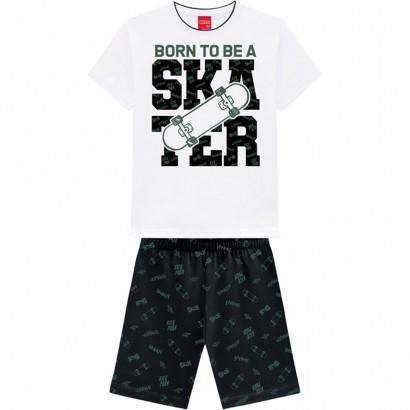 Conjunto Infantil Masculino Verão Branco Skater Kyly