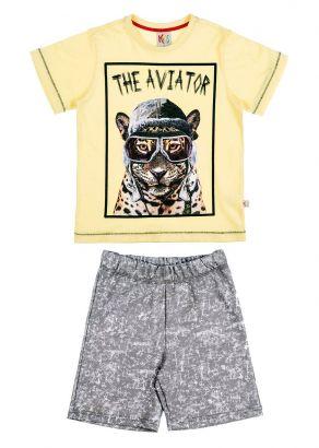Conjunto Infantil Masculino Verão Amarelo Aviator Kids Club