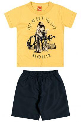 Conjunto Infantil Masculino Verão Amarelo Dino Elian