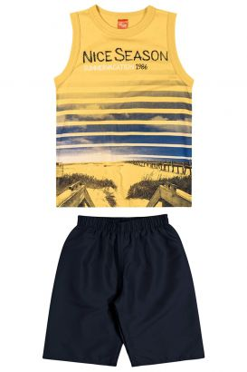 Conjunto Infantil Masculino Verão Amarelo Nice Elian