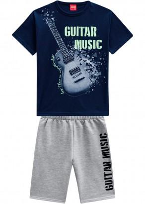 Conjunto Infantil Masculino Verão Azul Guitar Kyly