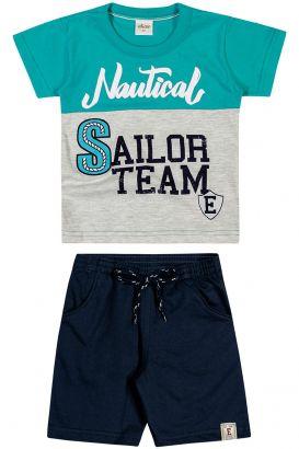 Conjunto Infantil Masculino Verão Azul Nautical Elian