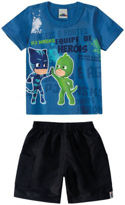 Conjunto Infantil Masculino Verão Azul Pjmasks Malwee