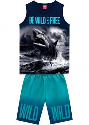 Conjunto Infantil Masculino Verão Azul Wild Kyly