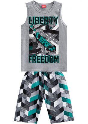 Conjunto Infantil Masculino Verão Cinza Mescla Liberty Kyly