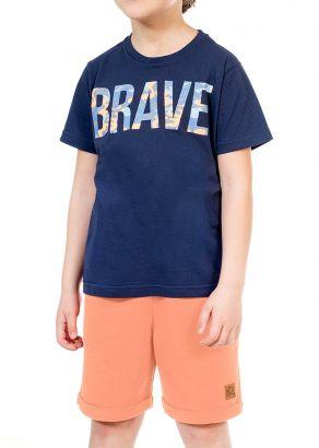 Conjunto Infantil Masculino Verão Marinho Brave Kids Club