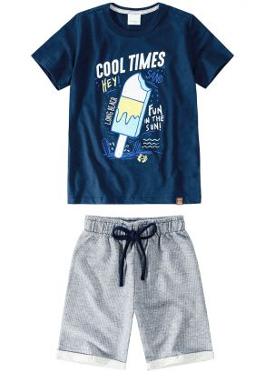 Conjunto Infantil Masculino Verão Marinho Times Malwee