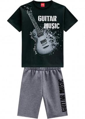 Conjunto Infantil Masculino Verão Preto Guitar Kyly