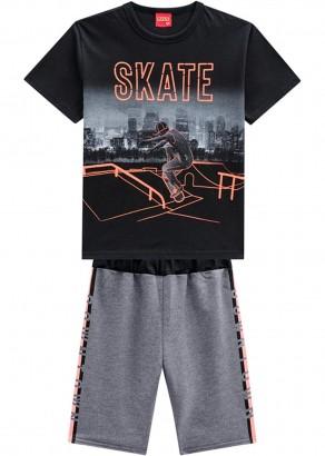 Conjunto Infantil Masculino Verão Preto Skate Kyly