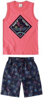 Conjunto Infantil Masculino Verão Rosa Flamingo Malwee