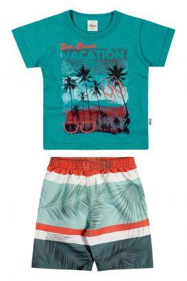 Conjunto Infantil Masculino Verão Verde Beach Elian