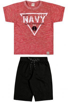 Conjunto Infantil Masculino Verão Vermelho Navy Elian