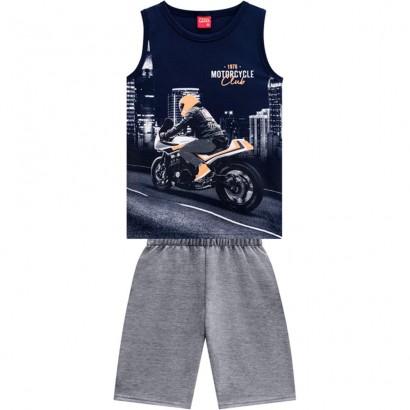 Conjunto Infantil Masculino Verão Azul Motoscycle Kyly
