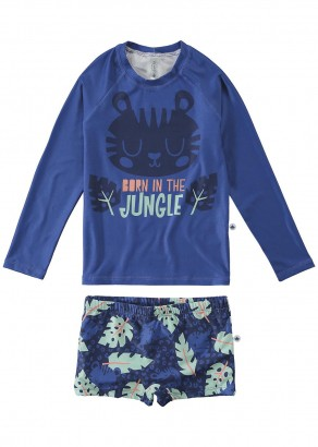 Sunga Infantil + Blusa Térmica Azul Jungle Malwee