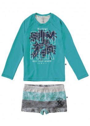 Sunga Infantil + Blusa Térmica Verde Summer Malwee