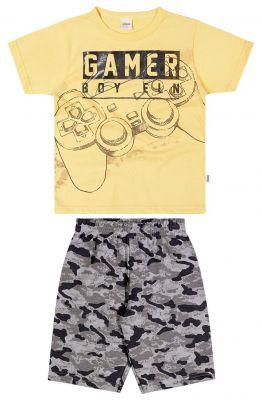 Conjunto lnfantil Masculino Verão Amarelo Gamer Elian