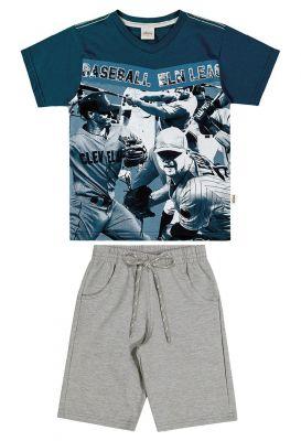 Conjunto lnfantil Masculino Verão Azul Baseball Elian