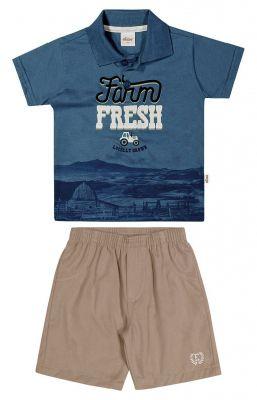 Conjunto lnfantil Masculino Verão Azul Fresh Elian