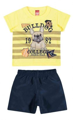 Conjunto Infantil Masculino Amarelo Bulldog Elian