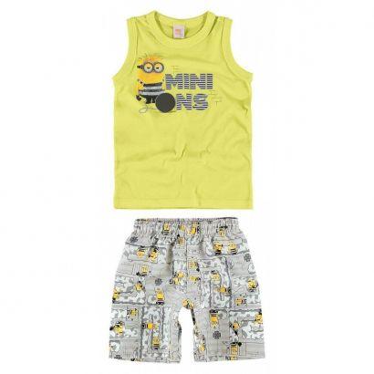 Conjunto Infantil Masculino Amarelo-Limão Minions Malwee