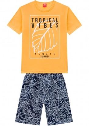 Conjunto Infantil Masculino Short e Camiseta Amarelo Queimado - Kyly