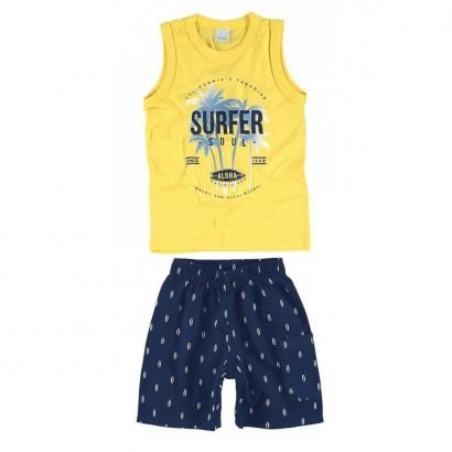 Conjunto Infantil Masculino Amarelo Surfer Soul Malwee