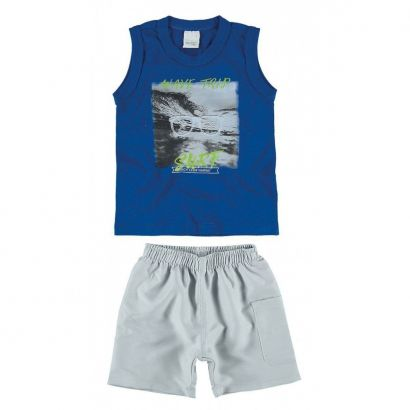 Conjunto Infantil Masculino Azul Wave Trip Malwee