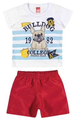 Conjunto Infantil Masculino Branco Bulldog Elian